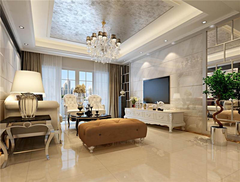 欧式和中式的混搭,电视背景墙画式风格是一大特色.